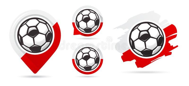 Πολωνικά διανυσματικά εικονίδια ποδοσφαίρου Στόχος ποδοσφαίρου Σύνολο εικονιδίων ποδοσφαίρου απεικόνιση αποθεμάτων