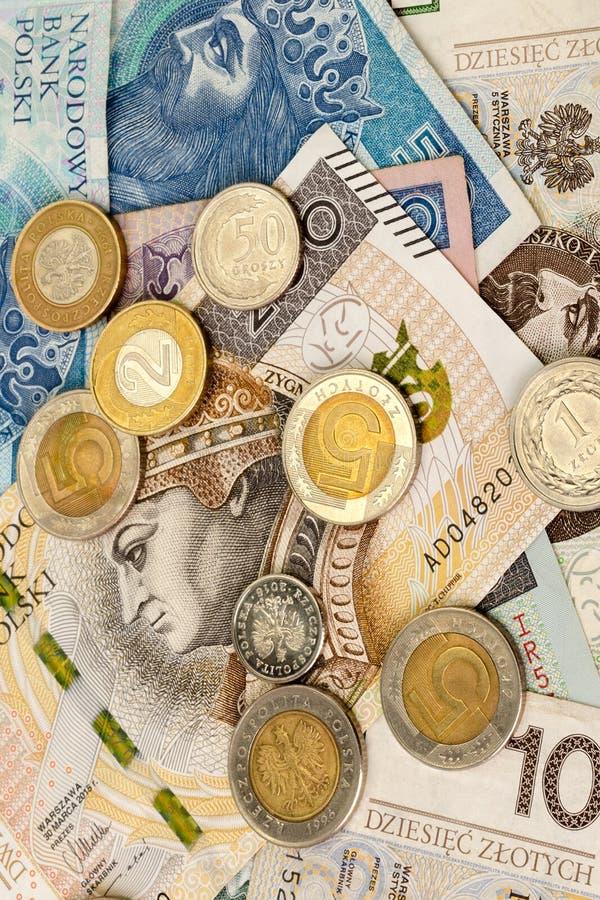 Πολωνικά τραπεζογραμμάτια και νομίσματα νομίσματος εγγράφου Zloty PLN οικονομικός στοκ φωτογραφίες
