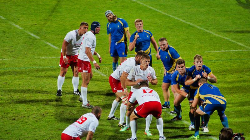 Πολωνική αντιπροσώπευση ράγκμπι κατά τη διάρκεια της αντιστοιχίας με τη Σουηδία στοκ φωτογραφίες