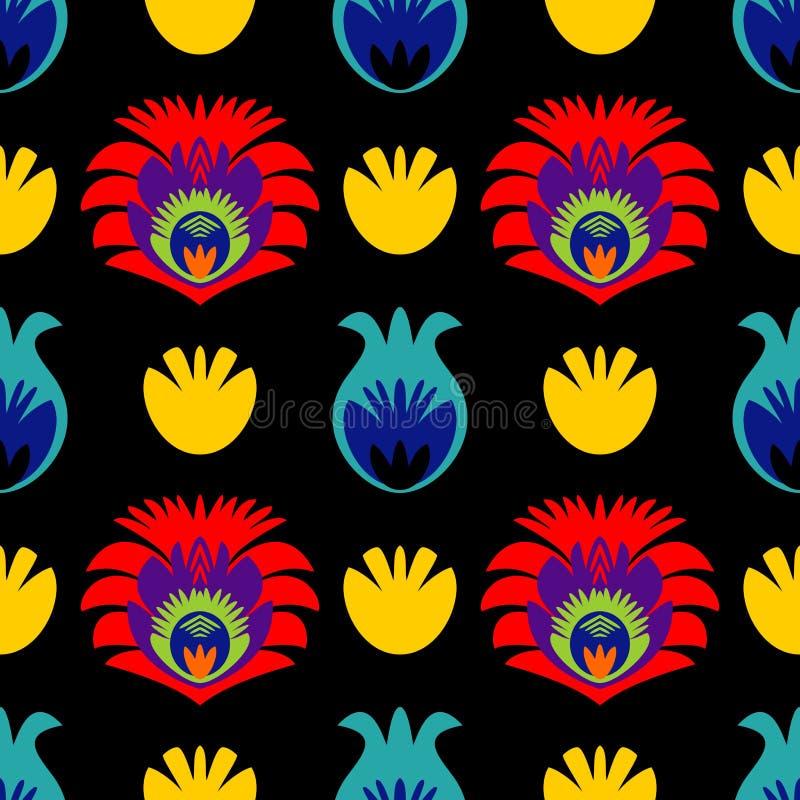 Πολωνικό λαϊκό διανυσματικό σχέδιο κεραμιδιών με το παραδοσιακό άνευ ραφής floral υπόβαθρο απεικόνιση αποθεμάτων