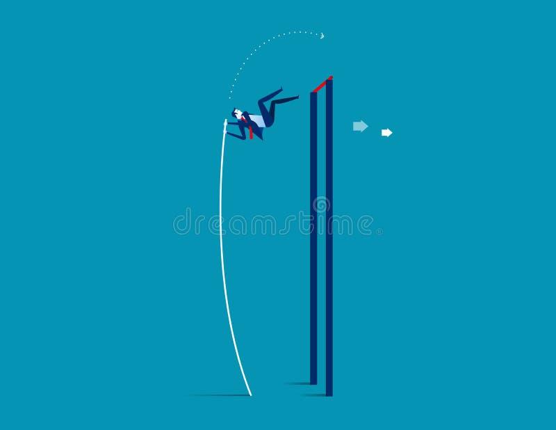 Πολωνός Vaulter Επιχείρηση που πηδά πέρα από την αύξηση Επιχείρηση έννοιας suc διανυσματική απεικόνιση
