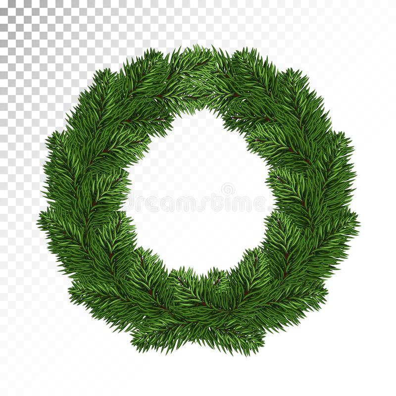 Πολύβλαστα πράσινα στεφάνια ερυθρελατών/πεύκων λευκό απομόνωσης ντεκόρ Χριστουγέννων απομονωμένος Π απεικόνιση αποθεμάτων