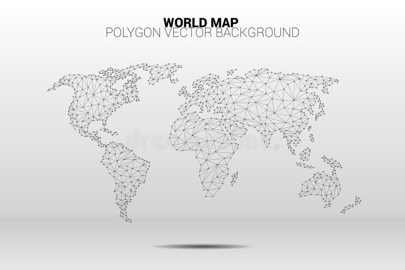 Πολύγωνο γραμμών σύνδεσης σημείων παγκόσμιων χαρτών: έννοια του ψηφιακού κόσμου, σύνδεση στοιχείων διανυσματική απεικόνιση