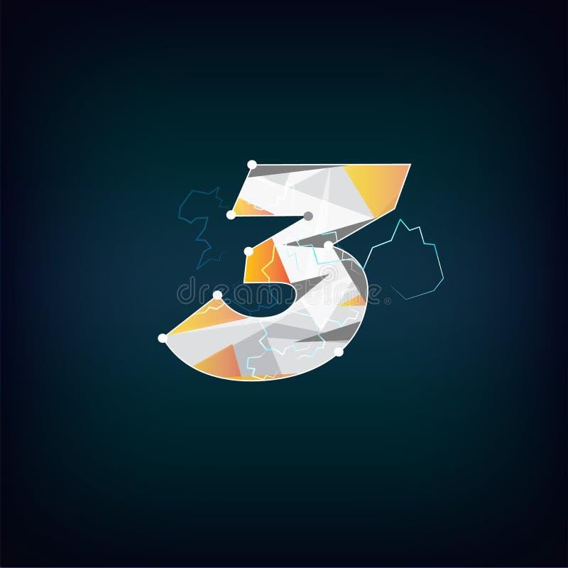 Πολύγωνο του αριθμού 3 αφηρημένη έννοια αριθμού - διάνυσμα ελεύθερη απεικόνιση δικαιώματος