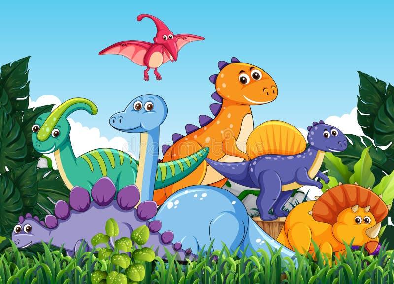 Πολύς δεινόσαυρος στη φύση διανυσματική απεικόνιση