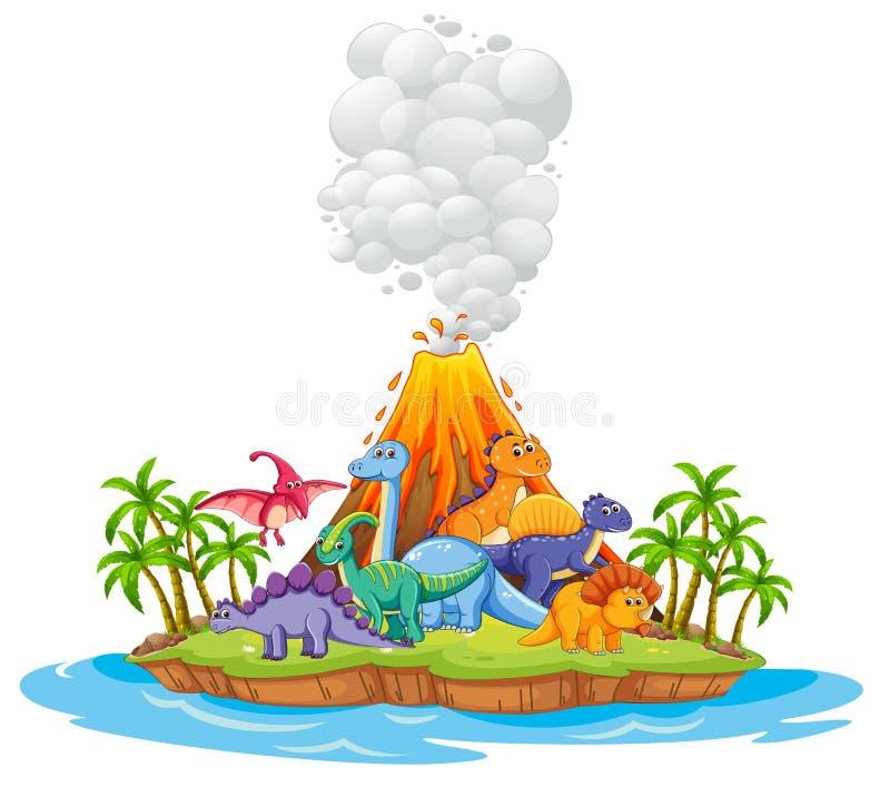 Πολύς δεινόσαυρος στο νησί διανυσματική απεικόνιση
