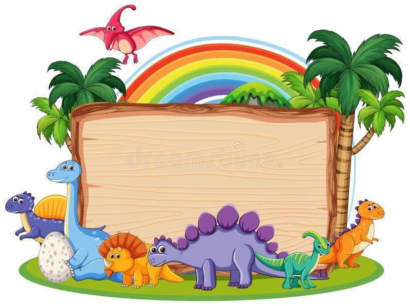 Πολύς δεινόσαυρος στο ξύλινο έμβλημα ελεύθερη απεικόνιση δικαιώματος