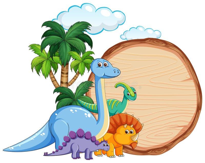 Πολύς δεινόσαυρος στο ξύλινο έμβλημα απεικόνιση αποθεμάτων