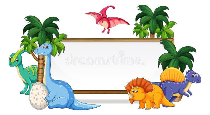 Πολύς δεινόσαυρος στο whiteboard απεικόνιση αποθεμάτων