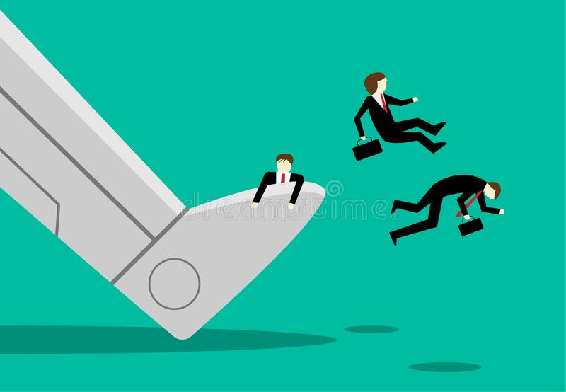 Πολύς υπάλληλος απολύθηκε από την εργασία από το ρομπότ AI διανυσματική απεικόνιση