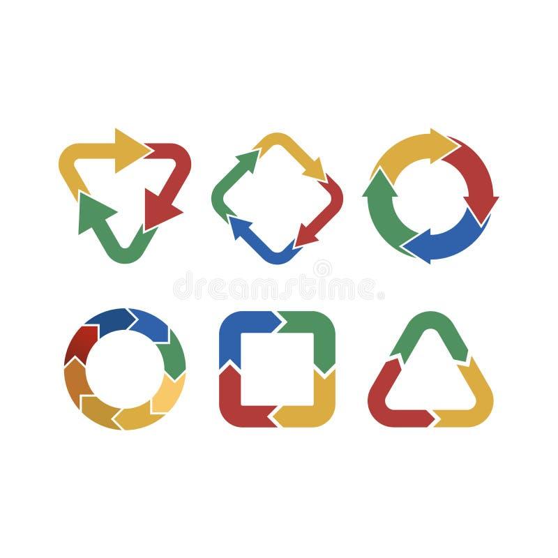 Πολύχρωμα βέλη στην κυκλική κίνηση Συνδυασμοί βελών Βέλη περιστροφής Εικονίδιο βελών κύκλων Επίπεδο σχέδιο ανακύκλωσης διανυσματική απεικόνιση