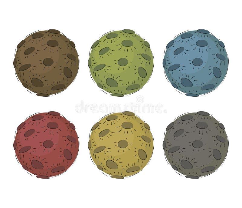 6 πολύχρωμα διανυσματικά χρωματισμένα φεγγάρια με τους κρατήρες που απομονώνονται στο άσπρο σύνολο υποβάθρου ελεύθερη απεικόνιση δικαιώματος