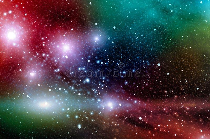 Πολύχρωμα κοσμικά νεφελώματα στον ουρανό με τα αστέρια Φωτεινό κοσμικό αφηρημένο υπόβαθρο διανυσματική απεικόνιση