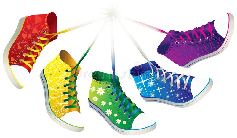 Πολύχρωμα πάνινα παπούτσια με τα διαφορετικά σχέδια διάνυσμα διανυσματική απεικόνιση