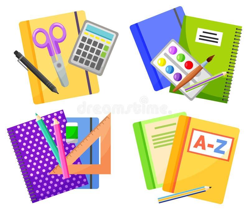 Πολύχρωμα σχολικά εφόδια απομονωμένα σε λευκό διάνυσμα διανυσματική απεικόνιση