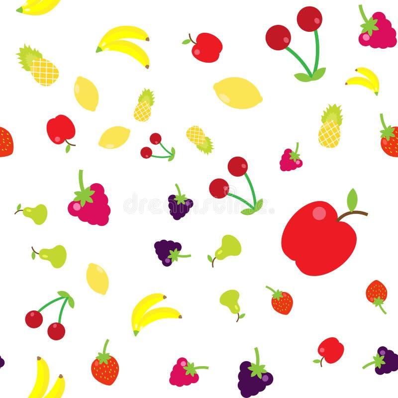 Πολύχρωμα φρούτα στο ύφος του επιπέδου σε έναν τυχαίο ελεύθερη απεικόνιση δικαιώματος