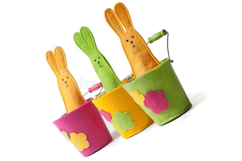 Πολύχρωμα bunnies Πάσχας (διαγώνια όψη) στοκ εικόνες