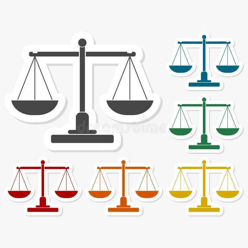 Πολύχρωμες αυτοκόλλητες ετικέττες εγγράφου - σκιαγραφία κλιμάκων δικαιοσύνης ελεύθερη απεικόνιση δικαιώματος