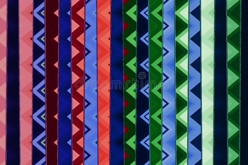 Πολύχρωμες γραμμές με το σχέδιο τρεκλίσματος μέσα, αφηρημένο υπόβαθρο απεικόνιση αποθεμάτων