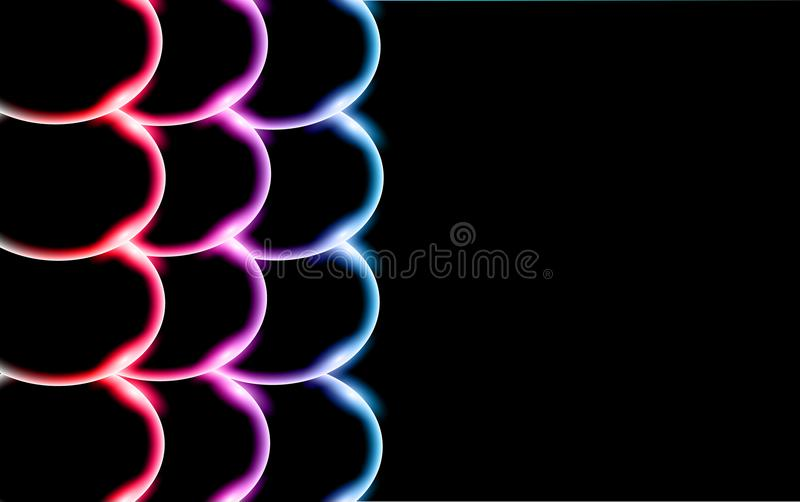 Πολύχρωμες διαφανείς αφηρημένες λαμπρές όμορφες και κυρτές στερεές απλές σφαίρες, φυσαλίδες, κύκλοι αυγών με το έντονο φως του φω διανυσματική απεικόνιση