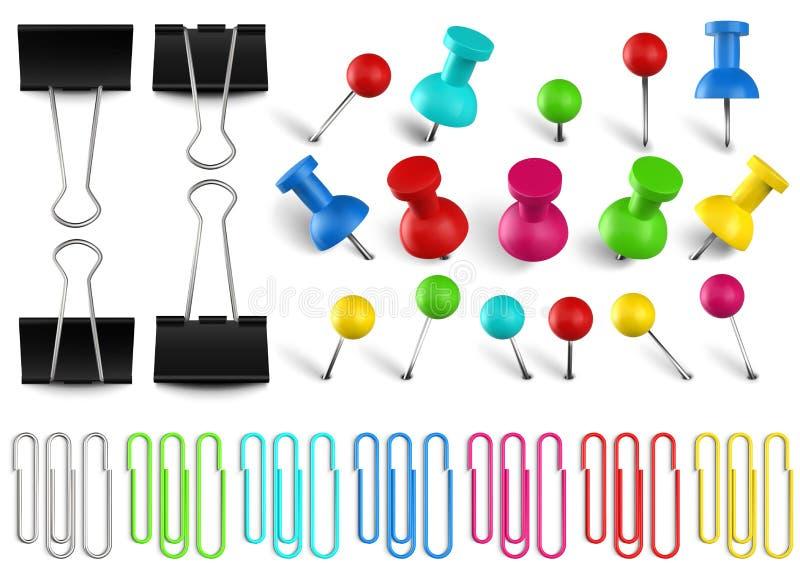 Πολύχρωμες πινέζες και συνδετήρες Έγχρωμος συνδετήρας, κόκκινη πινέζα και σφιγκτήρας για χαρτιά γραφείου Διάνυσμα ρεαλιστικών ακί ελεύθερη απεικόνιση δικαιώματος