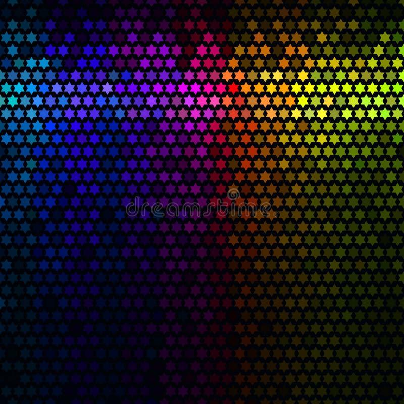 Πολύχρωμη αφηρημένη ανασκόπηση disco φω'των Διάνυσμα μωσαϊκών εικονοκυττάρου αστεριών απεικόνιση αποθεμάτων