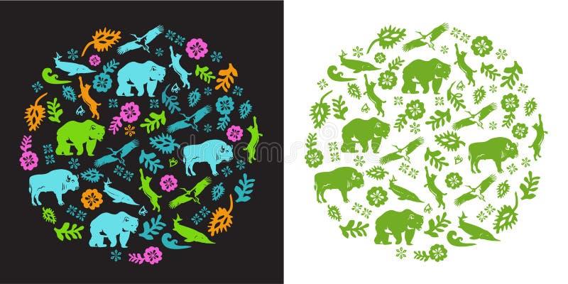 Πολύχρωμη διακόσμηση από τα ζώα και τα λουλούδια στο λαϊκό ύφος στοκ φωτογραφίες