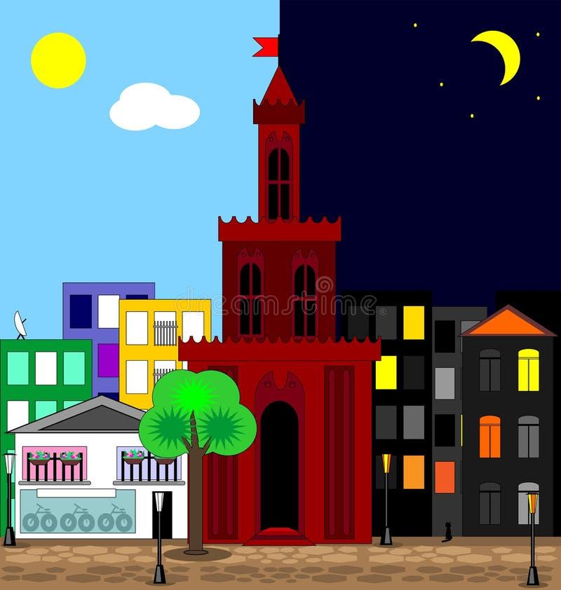 Πολύχρωμη εικόνα Abatract της πόλης μέρα και νύχτα ελεύθερη απεικόνιση δικαιώματος
