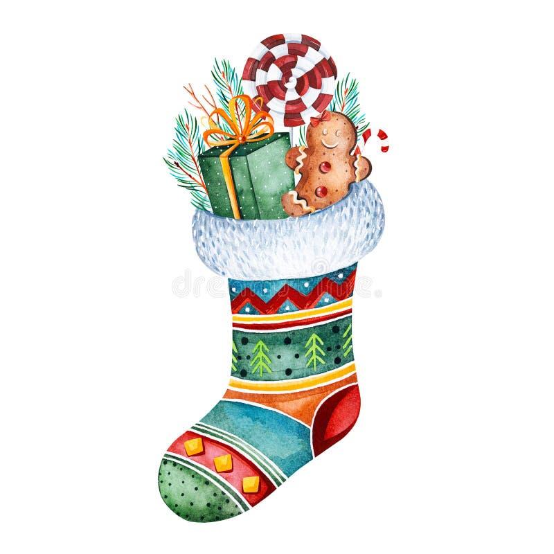 Πολύχρωμη κάλτσα Χριστουγέννων με το δώρο, την καραμέλα και άλλες διακοσμήσεις απεικόνιση διακοπών watercolor Τελειοποιήστε για τ ελεύθερη απεικόνιση δικαιώματος