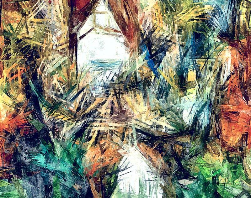 Πολύχρωμη μίμηση υποβάθρου μιας περίληψης psychedelic του σχεδιασμού των χαοτικών λερωμένων κηλίδων με τα ελαιοχρώματα απεικόνιση αποθεμάτων