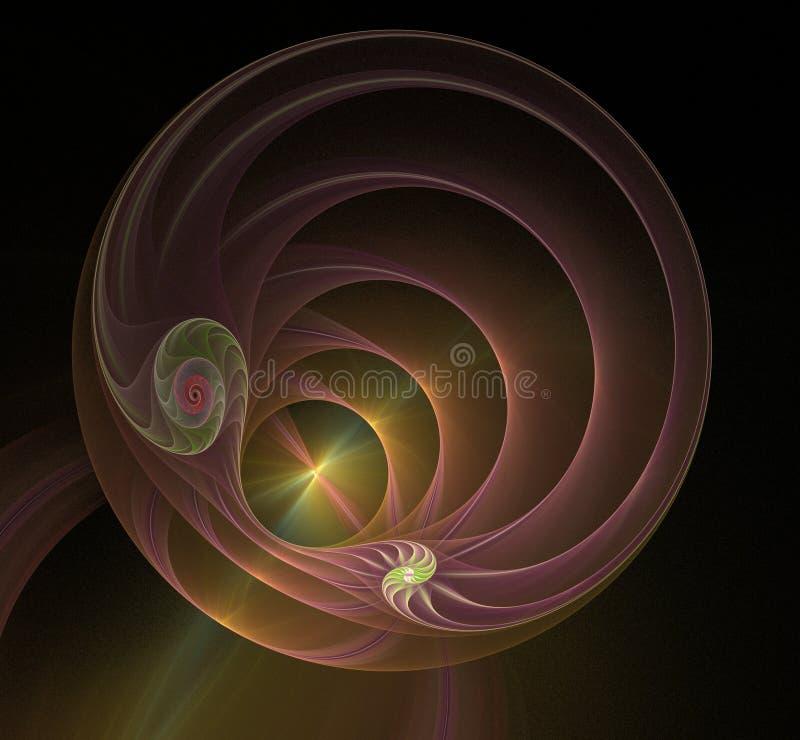 Πολύχρωμη σπειροειδής fractal εικόνα διανυσματική απεικόνιση