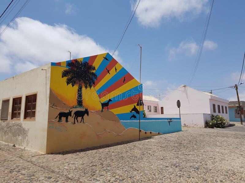 Πολύχρωμη τοιχογραφία σε χωριό στη Μπόα Βίστα του Πράσινου Ακρωτηρίου στοκ φωτογραφίες