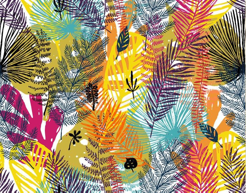 Πολύχρωμη τυπωμένη ύλη, άνευ ραφής σχέδιο με το καθιερώνον τη μόδα υπόβαθρο φθινοπώρου, εξωτικά φύλλα Διανυσματική βοτανική απεικ απεικόνιση αποθεμάτων