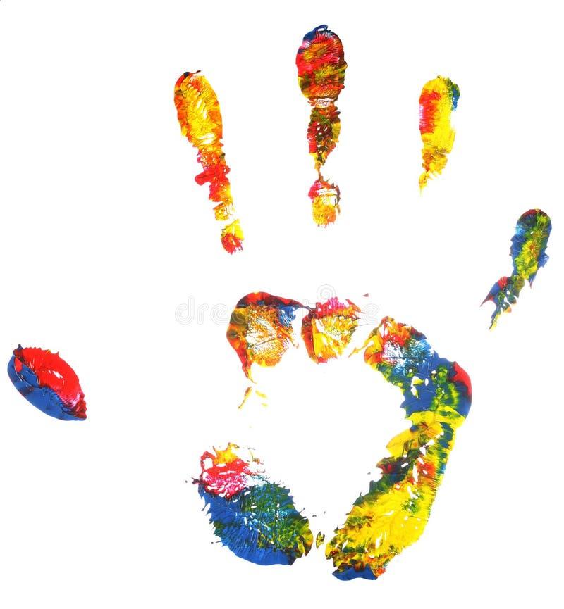 πολύχρωμη τυπωμένη ύλη χεριώ στοκ φωτογραφία