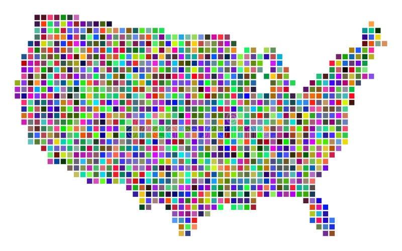 Πολύχρωμος ΑΜΕΡΙΚΑΝΙΚΟΣ χάρτης σημείων διανυσματική απεικόνιση