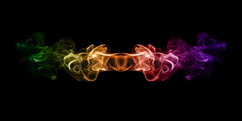 Πολύχρωμος καπνός που απομονώνεται στο μαύρο υπόβαθρο διανυσματική απεικόνιση