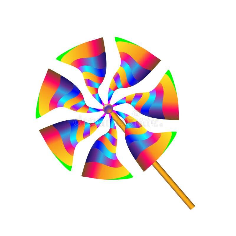 Πολύχρωμος προωστήρας ανεμόμυλων εγγράφου παιχνιδιών κλίσης Pinwheel με τις λεπίδες των διαφορετικών χρωμάτων επίσης corel σύρετε απεικόνιση αποθεμάτων