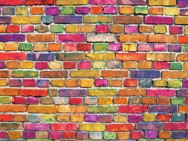 Πολύχρωμος τουβλότοιχος, φωτεινό υπόβαθρο επιφάνειας πετρών χρώματος στοκ φωτογραφίες με δικαίωμα ελεύθερης χρήσης