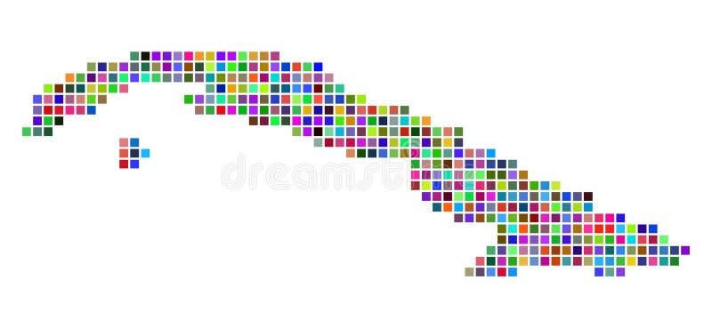 Πολύχρωμος χάρτης της Κούβας σημείων απεικόνιση αποθεμάτων
