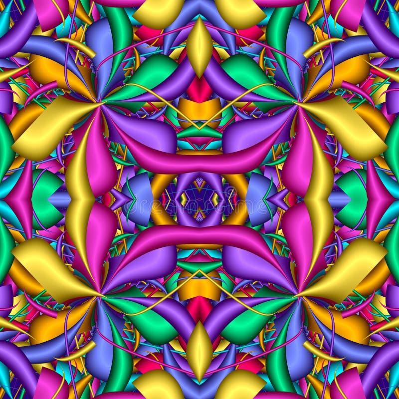 Πολύχρωμο άνευ ραφής αφηρημένο εορταστικό ζωηρό σχέδιο Μορφές λουλουδιών φαντασίας τρισδιάστατα στοιχεία Μεγάλος για τον τάπητα,  απεικόνιση αποθεμάτων