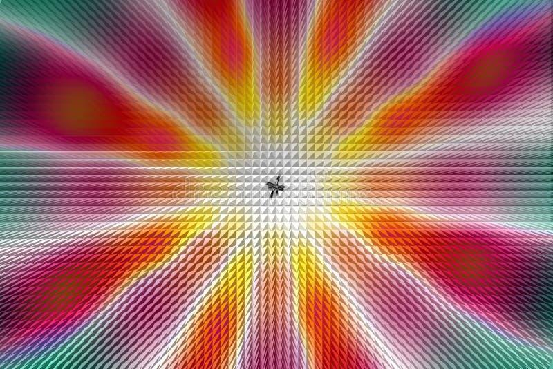 Πολύχρωμο ακτινωτό ελαφρύ σχέδιο κύκλων, επίδραση πυραμίδων διανυσματική απεικόνιση