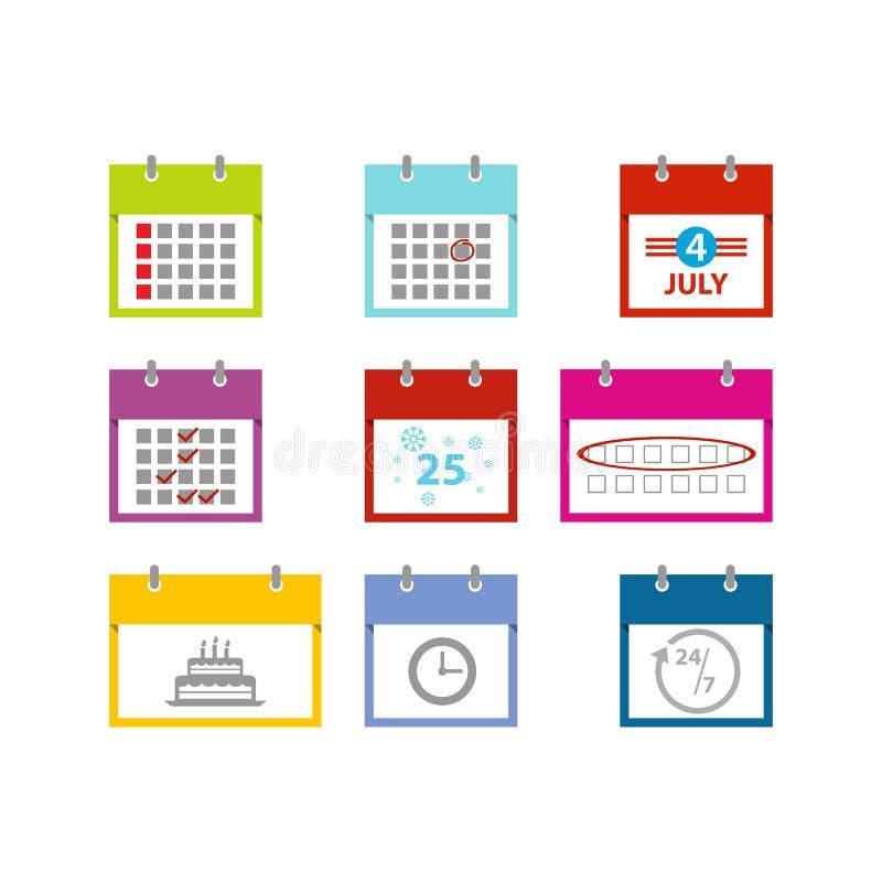 Πολύχρωμο διάνυσμα ημερολογιακών εικονιδίων που τίθεται για το πρότυπο σχεδίου Ιστού απεικόνιση αποθεμάτων