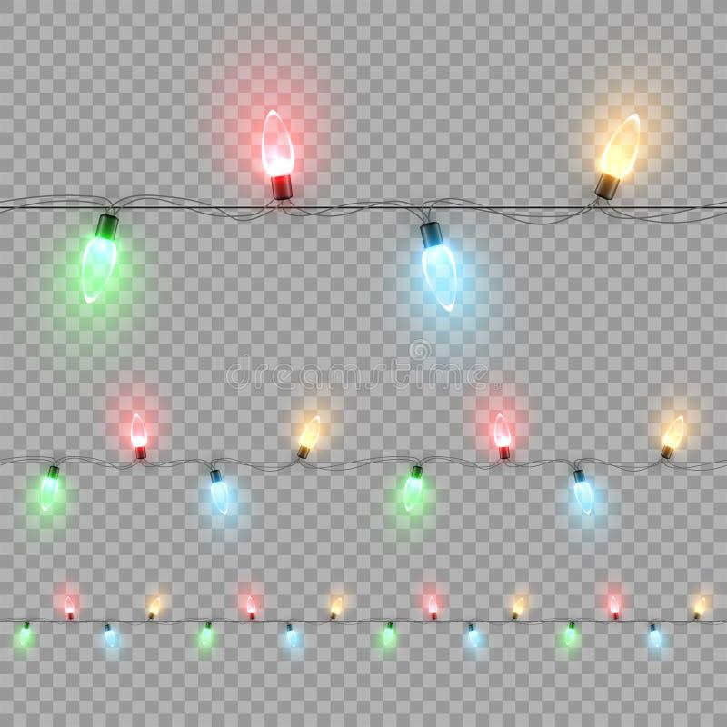 Πολύχρωμο οριζόντιο άνευ ραφής σχέδιο γιρλαντών βολβών Χριστουγέννων που απομονώνεται στο διαφανές υπόβαθρο eps σχεδίου 10 ανασκό απεικόνιση αποθεμάτων