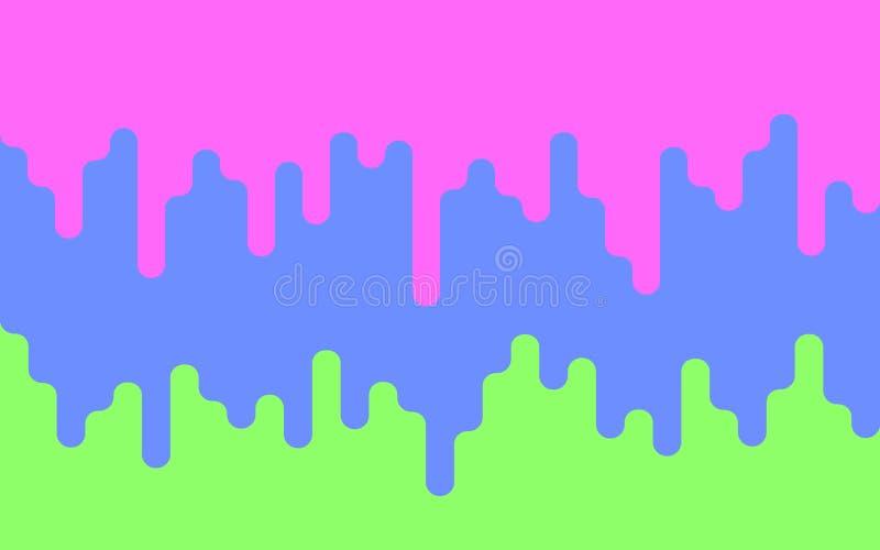 Πολύχρωμο στάζοντας χρώμα Σταλαγματιές του χρώματος σε ένα πράσινο υπόβαθρο φόντο φωτεινό επίσης corel σύρετε το διάνυσμα απεικόν απεικόνιση αποθεμάτων