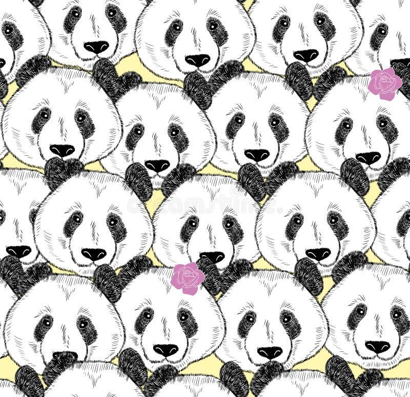 Πολύ άνευ ραφής σχέδιο pandas ελεύθερη απεικόνιση δικαιώματος