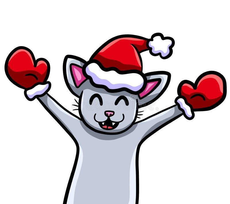 Πολύ ευτυχής γκρίζα γάτα Χριστουγέννων διανυσματική απεικόνιση