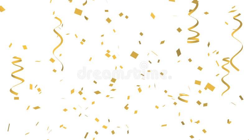 Πολύ χρυσό κομφετί και κορδέλλα στο άσπρο υπόβαθρο για το γεγονός και το κόμμα εορτασμού για το νέο έτος, τη γιορτή γενεθλίων, τα ελεύθερη απεικόνιση δικαιώματος