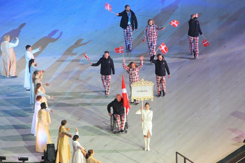 Πομπή μιας ομάδας Paraolympic της Δανίας στο άνοιγμα του χειμώνα στοκ εικόνα με δικαίωμα ελεύθερης χρήσης
