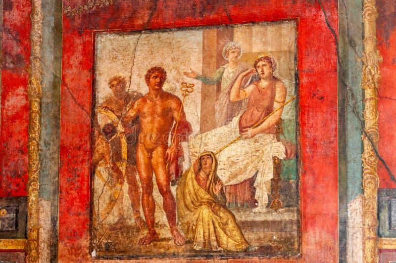 Πομπηία, η καλύτερα συντηρημένη αρχαιολογική περιοχή στον κόσμο, Ιταλία Νωπογραφίες στον εσωτερικό τοίχο που καταστρέφεται στο σπ στοκ εικόνα με δικαίωμα ελεύθερης χρήσης