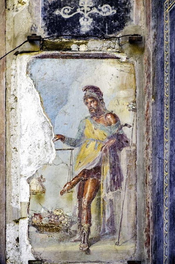 Πομπηία, νωπογραφία Priapus στο σπίτι του Vettii στοκ φωτογραφίες με δικαίωμα ελεύθερης χρήσης